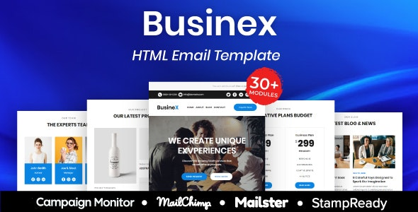 Businex - Multipurpose Responsive Email Template 20+ Modules - Mailster & Mailchimp - Newsletters Email Templates