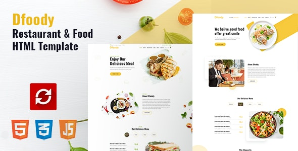 Dfoody - Restaurant HTML5 Template with RTL Support - Restaurants & Cafes Entertainment
