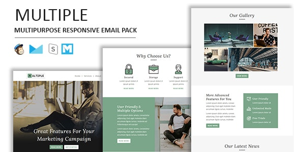 Multiple Responsive Email Template - Newsletters Email Templates