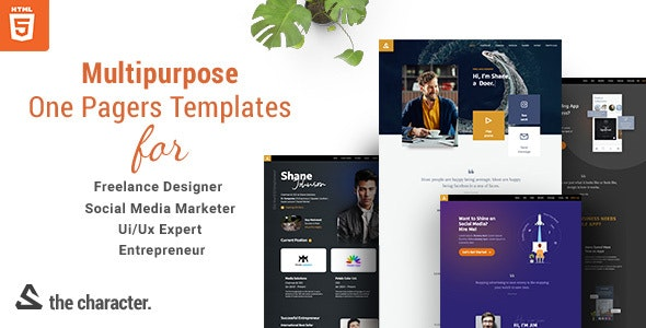 The Character - One Pager Templates for Professionals in HTML 5 - Portfolio Creative