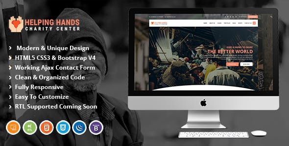 Download Helping Hands | Fundraising & Charity HTML Template.