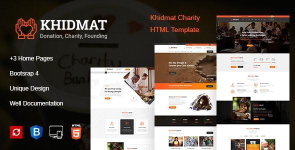 Khidmat Charity, Fundraising & Donation HTML Template - Charity Nonprofit