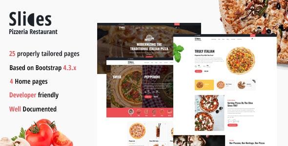 Slices - Pizza Restaurant HTML Template - Restaurants & Cafes Entertainment