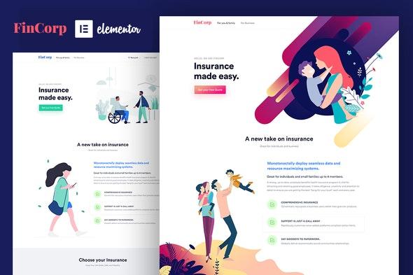FinCorp - Insurance & Marketing Elementor Template Kit - Business & Services Elementor