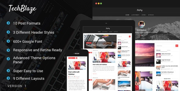 TechBlaze - Professional WordPress Blog Theme - News / Editorial Blog / Magazine
