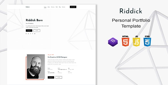Riddick - Personal Portfolio Template - Personal Site Templates
