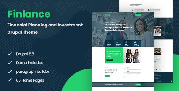 Download Finlance - Financial Planning Drupal 8.8 Theme with Paragraph Builder