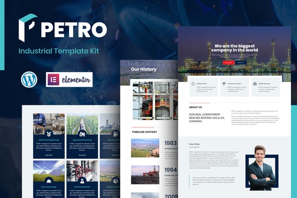 Petro - Industrial Elementor Template Kit - Business & Services Elementor