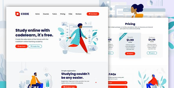 CODELEARN - Multi-Purpose Course and Learning HTML Landing Page Template
