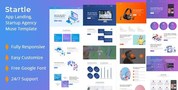 Startle-App Landing Startup Agency Muse Template - Landing Muse Templates
