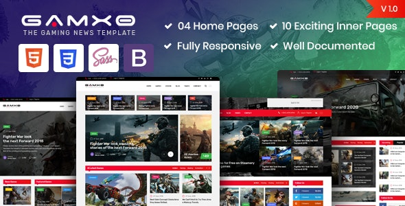 Gamxo - Games News Gaming HTML5 Template - Site Templates