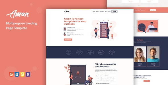 Aman — Multipurpose Landing Page Template - Corporate Landing Pages