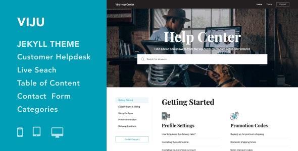 Viju - Documentation and Helpdesk Jekyll Theme - Jekyll Static Site Generators