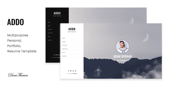 ADDO - Multipurpose Personal, Portfolio and Resume Template - Virtual Business Card Personal