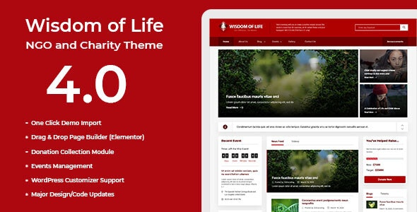 Wisdom Of Life: NGO and Charity Theme - Nonprofit WordPress