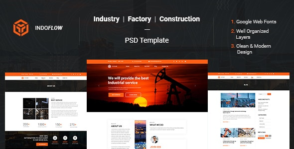 Indoflow - Industrial Construction & Manufacturing PSD Template - Business Corporate