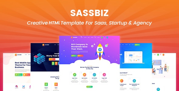 SassBiz – Software, App & Startup Responsive Sass Template. - Technology Site Templates