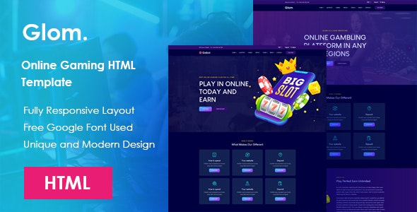 Glom - Online Gaming HTML Template - Technology Site Templates