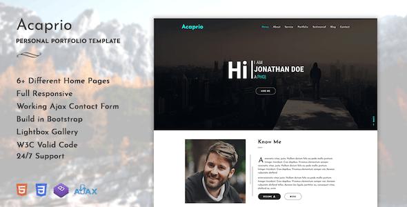 Acaprio - Personal Portfolio Template