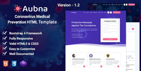 Download Aubna - Coronavirus Medical Prevention HTML Template