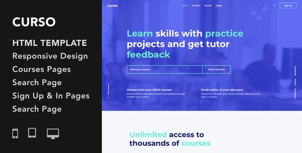 Download Curso - Courses and LMS HTML5 Responsive Template