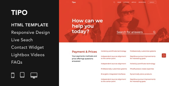 Tipo - Helpdesk and Documentation HTML5 Responsive Template - Miscellaneous Site Templates