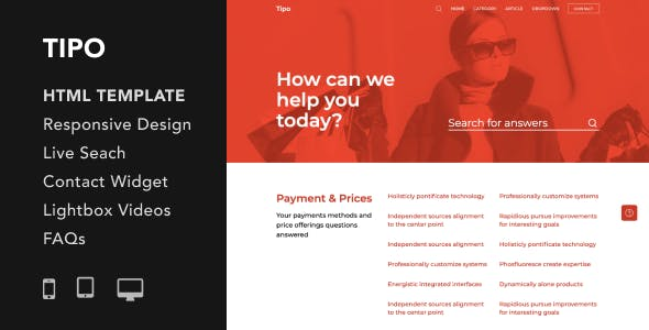 Download Tipo - Helpdesk and Documentation HTML5 Responsive Template