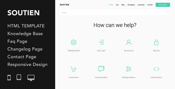 Soutien | Customer Support Helpdesk HTML Template - Specialty Pages Site Templates