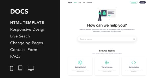 Docs - Documentation and Manual HTML5 Responsive Template