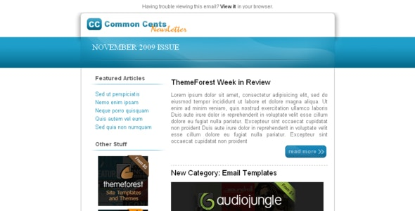 Common Cents - Newsletters Email Templates