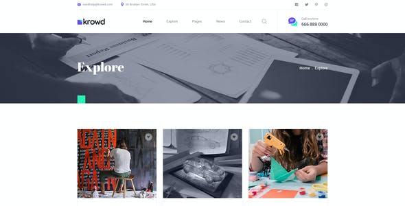 Krowd - Crowdfunding Projects & Charity PSD Template