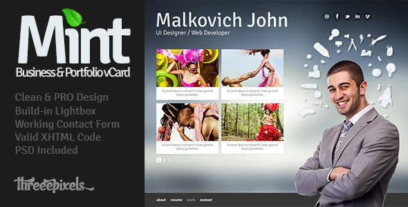 Mint - Virtual Business Card Template - Virtual Business Card Personal