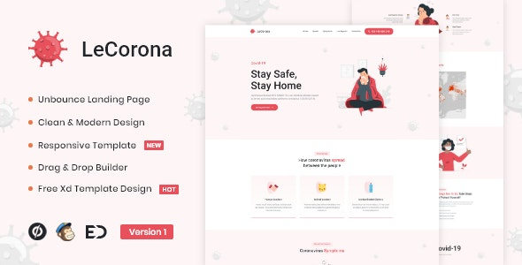 LeCorona - Virus Medical Prevention Unbounce Template - Unbounce Landing Pages Marketing