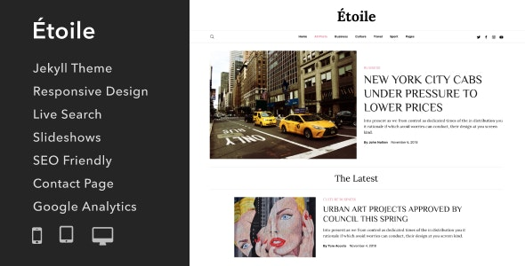 Étoile - Responsive Jekyll Theme for Bloggers and Writers - Jekyll Static Site Generators