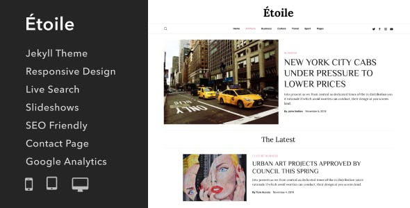 Étoile - Responsive Jekyll Theme for Bloggers and Writers