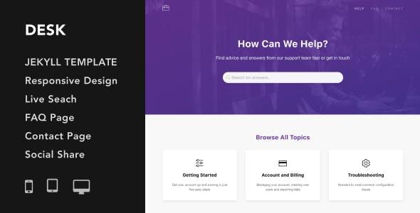 Desk - Responsive Knowledge Base & FAQ Jekyll Theme
