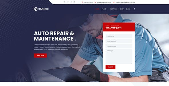 Carhub - Auto Services Template Kit