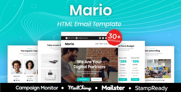 Mario - Multipurpose Responsive Email Template 30+ Modules Mailchimp - Newsletters Email Templates