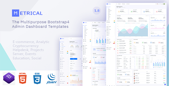 Metrical - Multipurpose Bootstrap4 Admin Dashboard Template - Admin Templates Site Templates