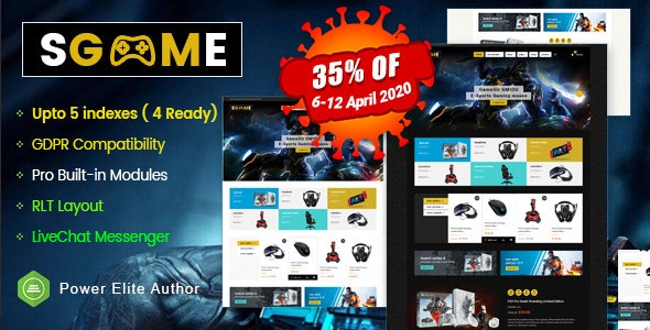 SGame - Responsive Accessories Store OpenCart Theme (Include 3 mobile layouts) - OpenCart eCommerce