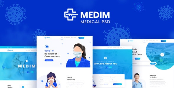 Medim - Coronavirus Medical Prevention and Health PSD Template - Retail Photoshop