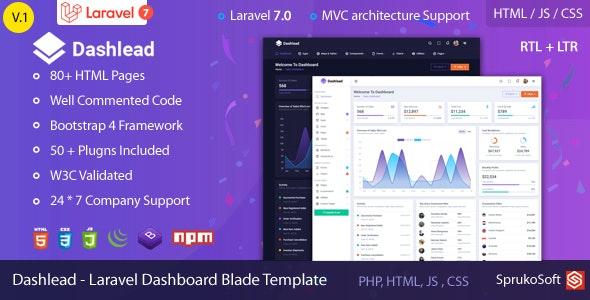 Dashlead – Laravel Admin Template - Admin Templates Site Templates