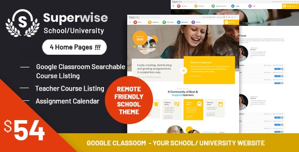 Superwise - Modern Education and Google Classroom WordPress Theme - Education WordPress