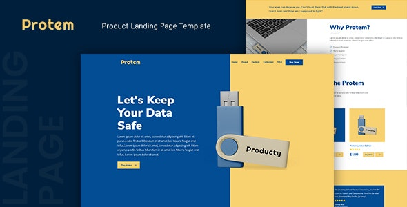 Protem — Product Landing Page Template - Marketing Corporate
