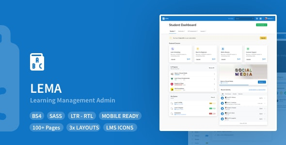 LEMA - Learning Management System Admin Template - Admin Templates Site Templates