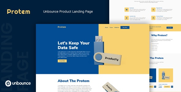 Protem — Unbounce Product Landing Page Template - Unbounce Landing Pages Marketing