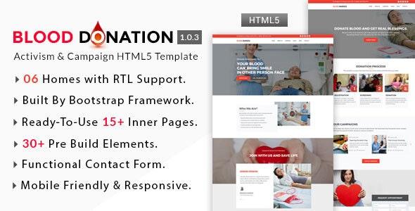 Blood Donation - Activism & Campaign HTML5 Template - Activism Nonprofit