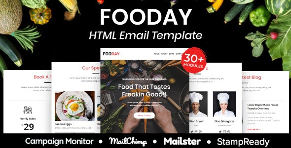 Fooday - Multipurpose Responsive Email Template 20+ Modules Mailchimp - Newsletters Email Templates