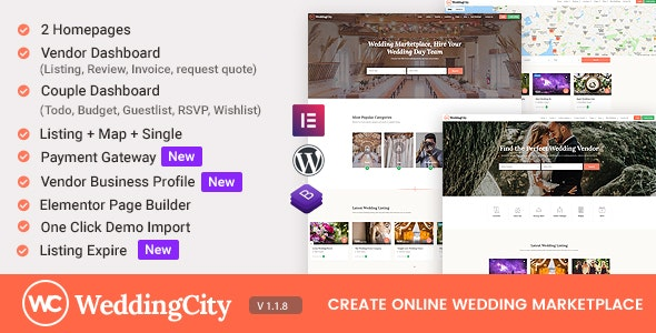 WeddingCity - Directory & Listing WordPress Theme - Directory & Listings Corporate