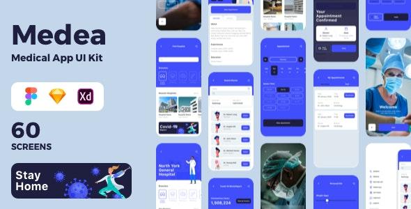 Medea Medical App UI Kit - Business Corporate